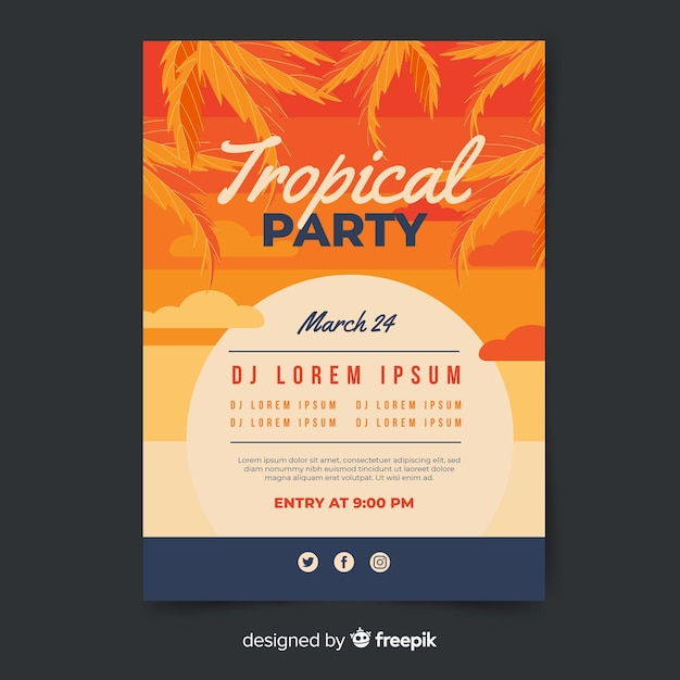 Modello di poster festival di musica tropicale vintage Vettore gratuito