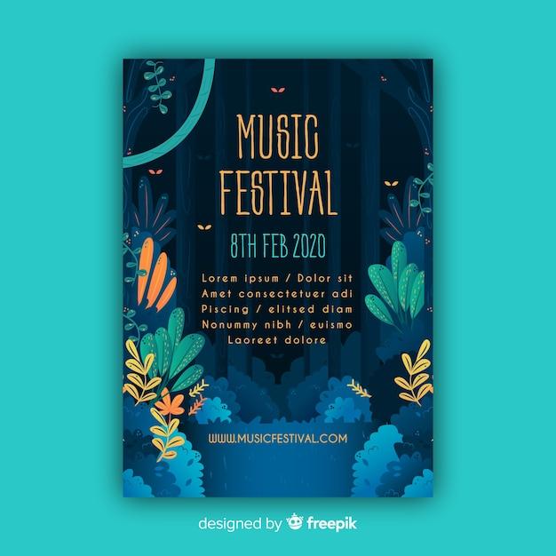 Modello di poster festival di musica tropicale Vettore gratuito