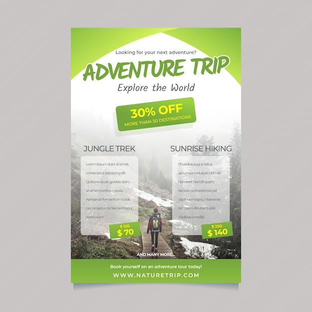 Modello di poster itinerante con dettagli e foto Vettore gratuito
