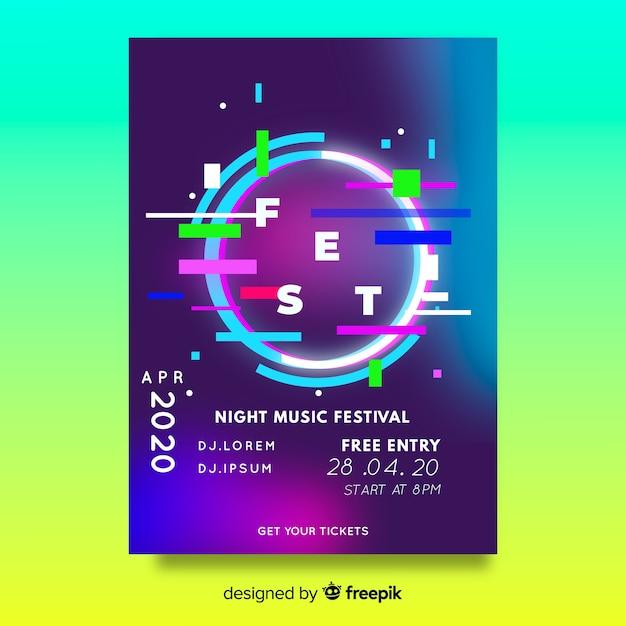 Modello di poster o flyer festa festival di musica Vettore gratuito