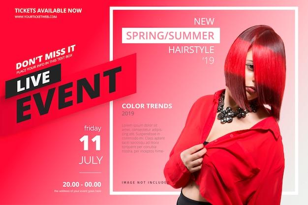Modello di poster per eventi di bellezza Vettore gratuito