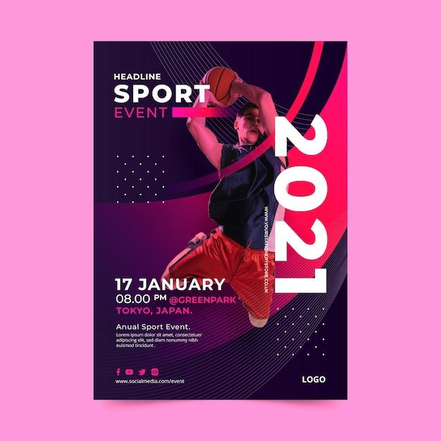 Modello di poster per evento sportivo Vettore gratuito