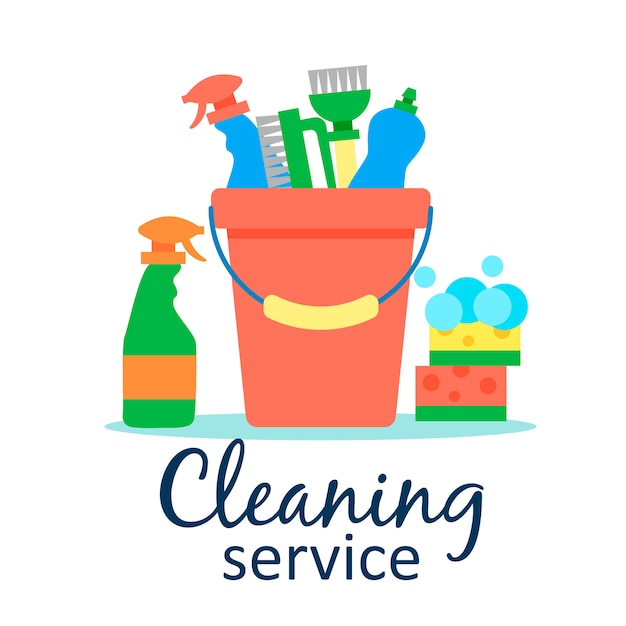 Modello di poster per servizi di pulizia della casa con vari articoli per la pulizia Vettore gratuito