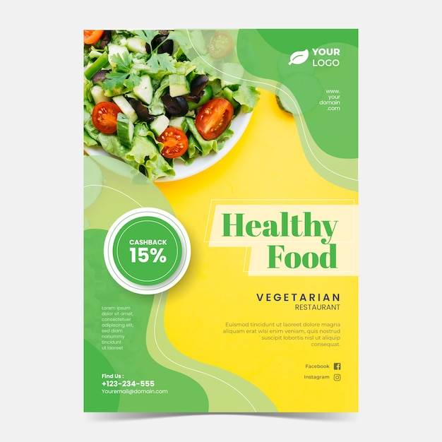 Modello di poster ristorante cibo sano con foto Vettore gratuito