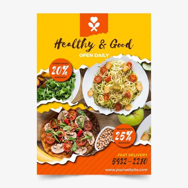Modello di poster ristorante cibo sano Vettore gratuito