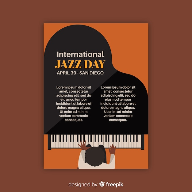 Modello di poster vintage jazz internazionale di giorno Vettore gratuito
