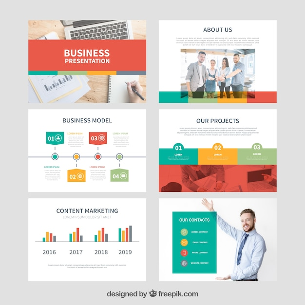 Modello di presentazione aziendale con foto Vettore gratuito