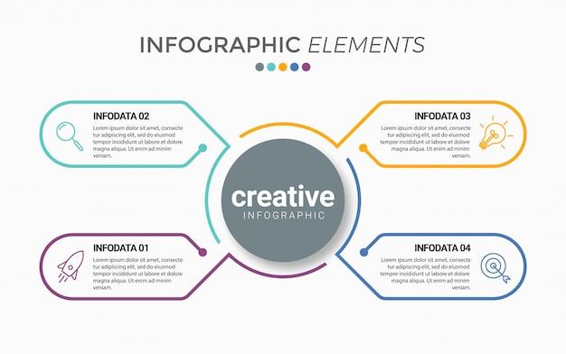 Modello di presentazione aziendale infografica con 4 opzioni Vettore Premium