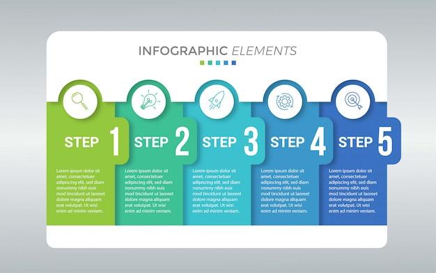 Modello di presentazione aziendale infografica con 5 opzioni Vettore Premium