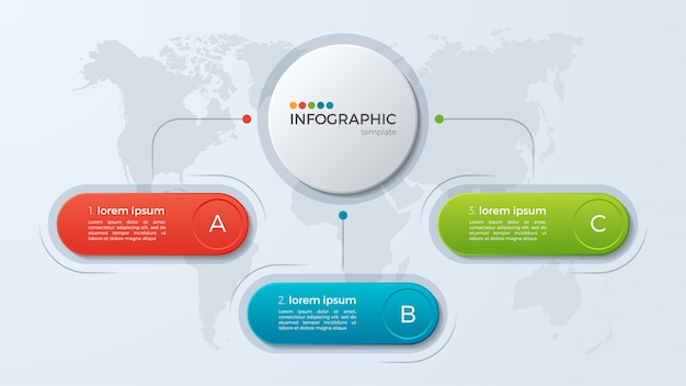 Modello di presentazione aziendale infografica con opzioni. Vettore Premium