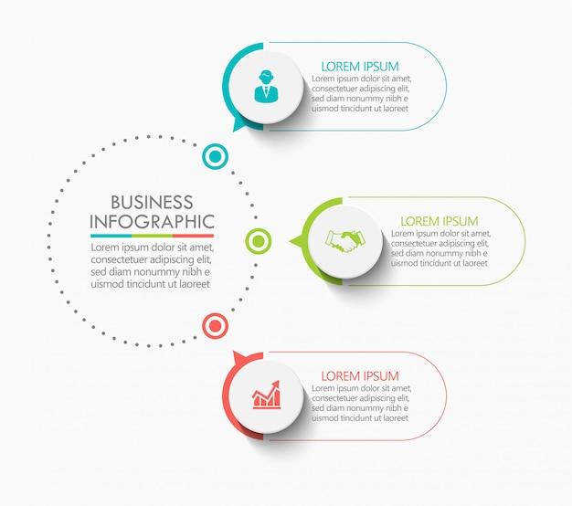 Modello di presentazione business cerchio infografica con 3 opzioni. Vettore Premium
