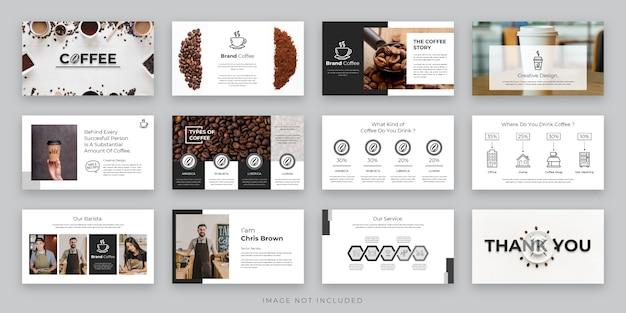 Modello di presentazione del caffè in bianco e nero con icona elemento, presentazione di progetti aziendali e marketing caffè Vettore Premium