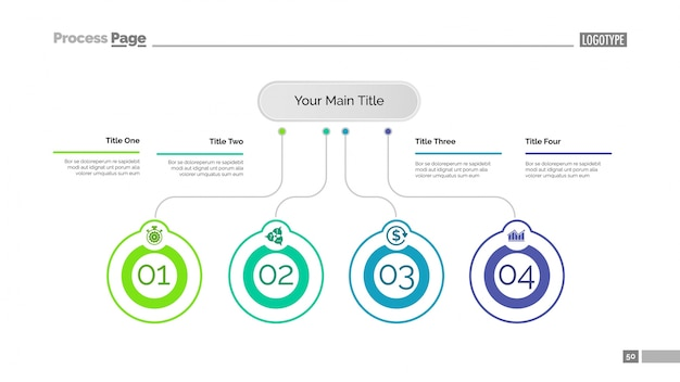 Modello di presentazione di quattro idee di business Vettore gratuito