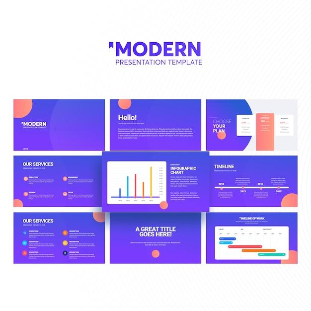 Modello di presentazione moderna Vettore Premium