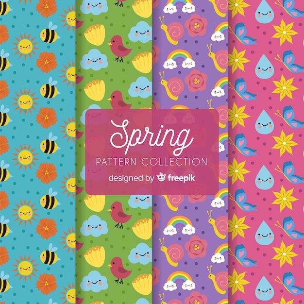 Modello di primavera collectio Vettore gratuito