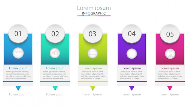 Modello di processo aziendale. infografica timeline con cinque passaggi o opzioni. Vettore Premium