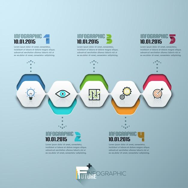 Modello di processo infografica moderna con fogli di carta Vettore Premium