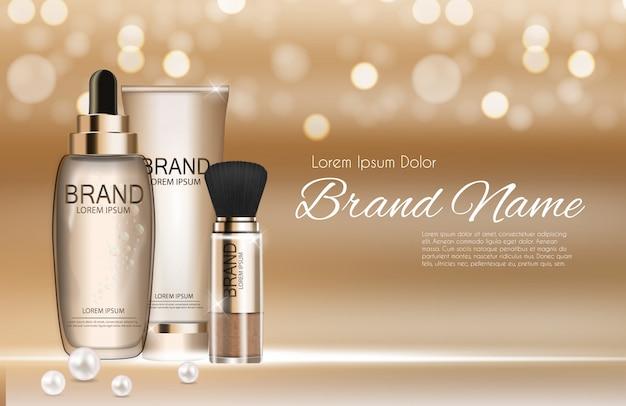 Modello di prodotti cosmetici di design per annunci o sfondo di riviste Vettore Premium