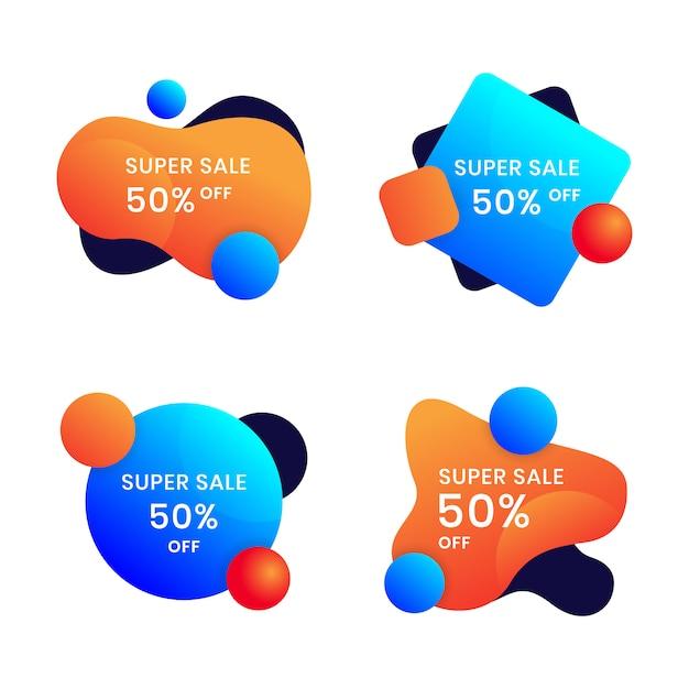 Modello di progettazione banner liquido per annunci di social media impostato Vettore Premium