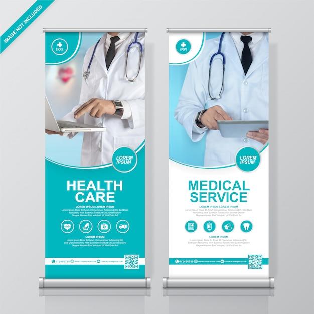Modello di progettazione banner sanitario e rollup medica e standee Vettore Premium