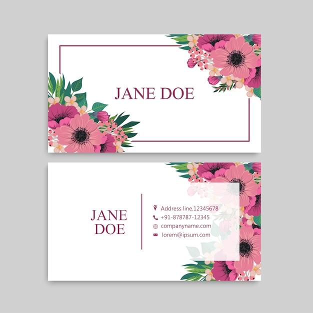Modello di progettazione biglietto da visita carta modello carino floreale Vettore gratuito