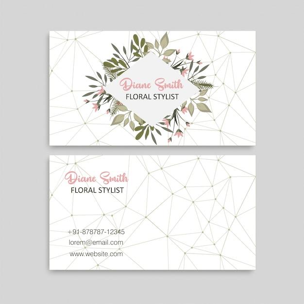 Modello di progettazione biglietto da visita carta modello carino floreale Vettore Premium