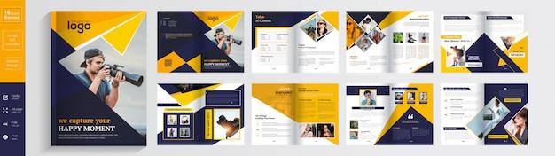 Modello di progettazione brochure fotografica 16 pagine Vettore Premium