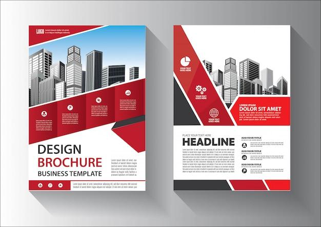 Modello di progettazione brochure o volantino con colore rosso e nero Vettore Premium