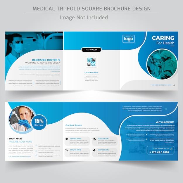 Modello di progettazione brochure ripiegabile quadrato medico o ospedaliero Vettore Premium