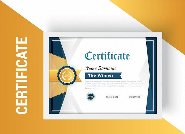 Modello di progettazione certificato elegante Vettore Premium