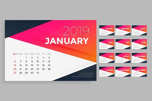 Modello di progettazione del calendario moderno 2019 Vettore gratuito