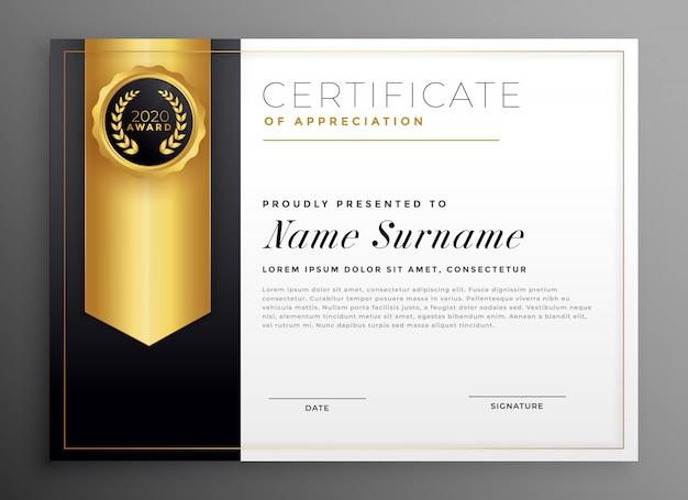 Modello di progettazione del certificato aziendale dorato Vettore gratuito
