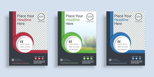 Modello di progettazione del libro di copertina del manifesto con spazio per il fondo della foto. Vettore Premium