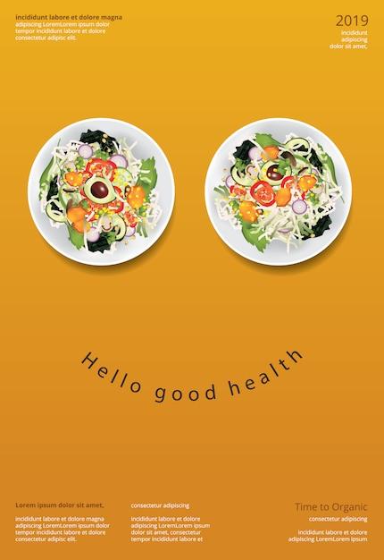 Modello di progettazione del manifesto dell'alimento biologico dell'insalata di verdure Vettore Premium