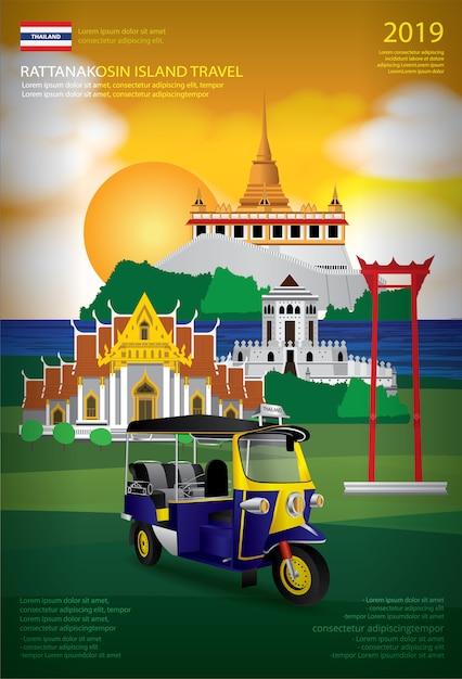 Modello di progettazione del manifesto di viaggio della tailandia bangkok Vettore Premium