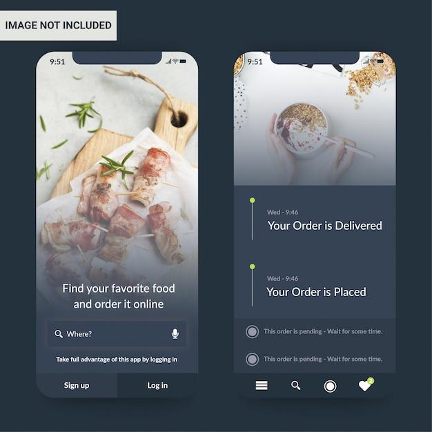 Modello di progettazione dell'interfaccia utente dell'applicazione alimentare Vettore Premium