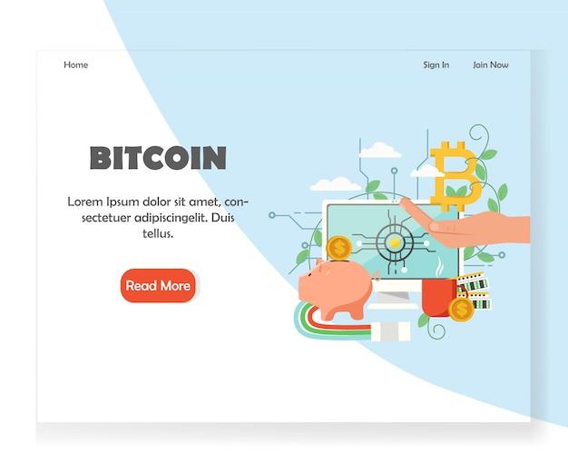Modello di progettazione della pagina di destinazione del sito web di investimento bitcoin Vettore Premium