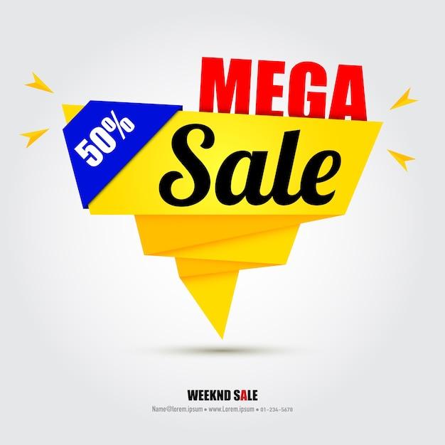 Modello di progettazione di banner di vendita con idee creative. Vettore Premium