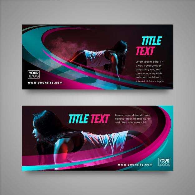 Modello di progettazione di banner sportivi Vettore gratuito
