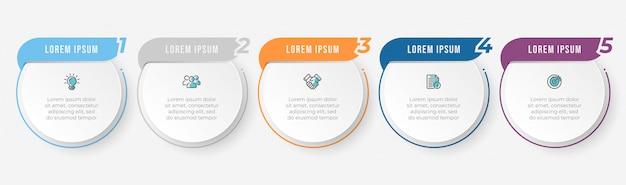 Modello di progettazione di etichette infographic di affari con icone e 5 opzioni o passaggi. Vettore Premium