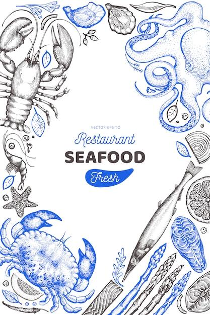 Modello di progettazione di frutti di mare e pesce. Vettore Premium