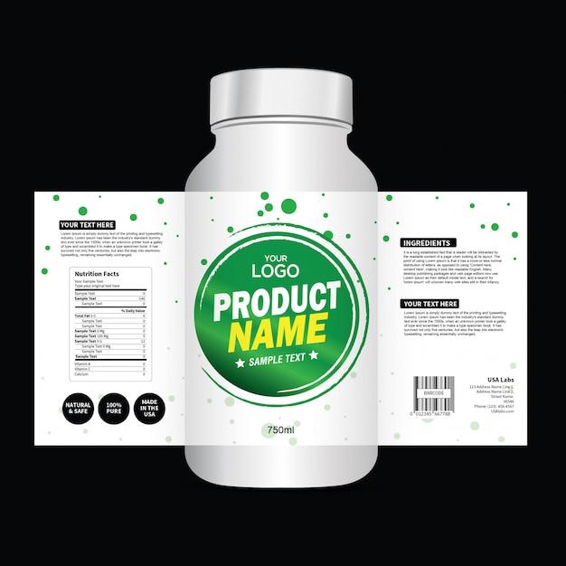 Modello di progettazione di imballaggi e etichette Vettore Premium