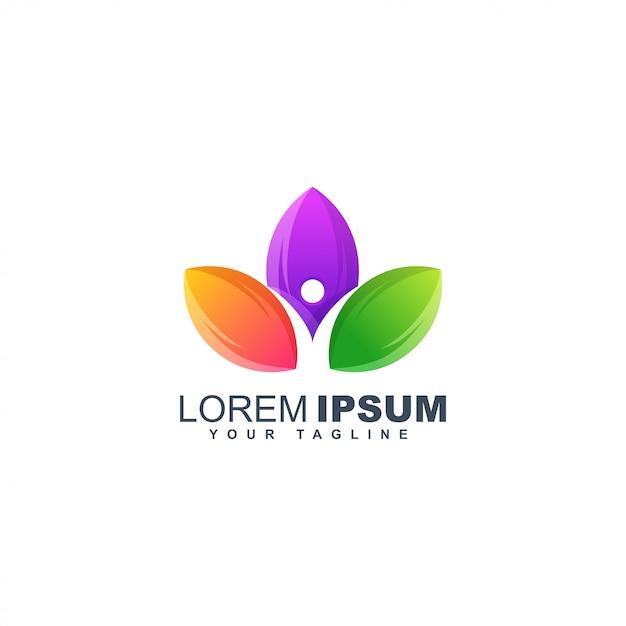Modello di progettazione di logo astratto umano foglia colorata Vettore Premium