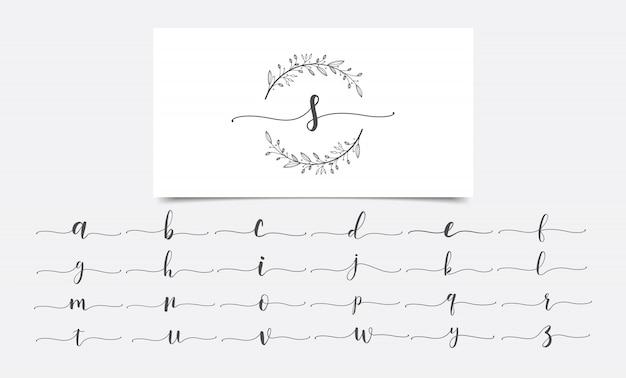 Modello di progettazione di logo dell'acquerello di iniziali floreali Vettore Premium