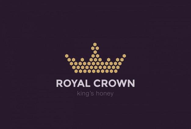 Modello di progettazione di logo di corona di cellule esagonali. icona di idea reale re miele logotype concetto Vettore gratuito