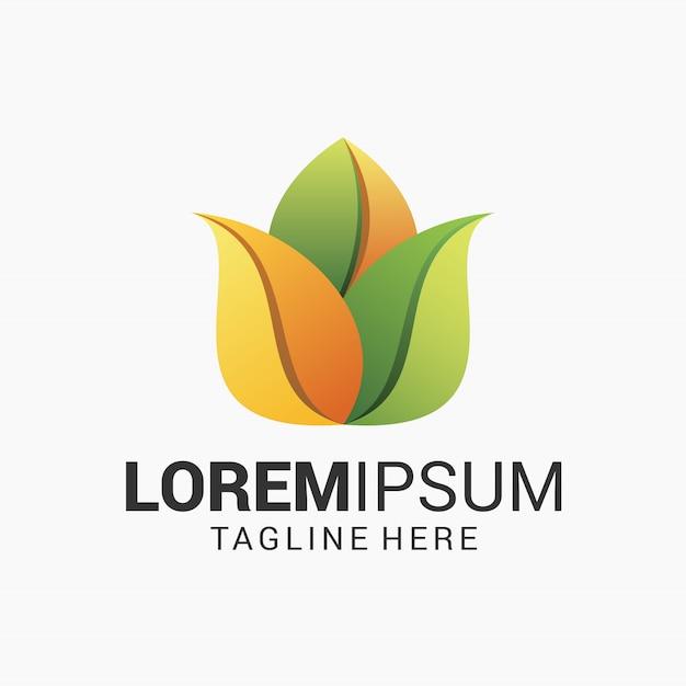 Modello di progettazione di logo di fiore di loto Vettore Premium