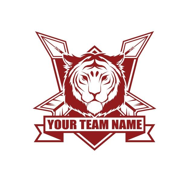 Modello di progettazione di logo di stile vintage vettoriale con tigre Vettore Premium
