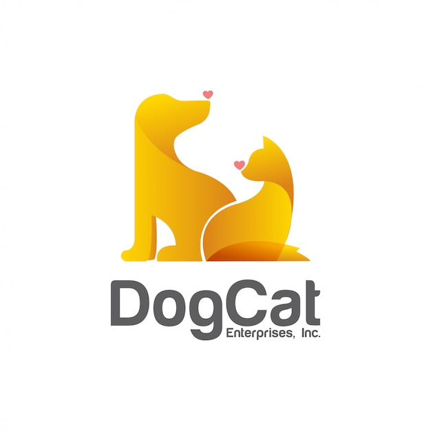 Modello di progettazione di logo di vettore del negozio di animali Vettore Premium