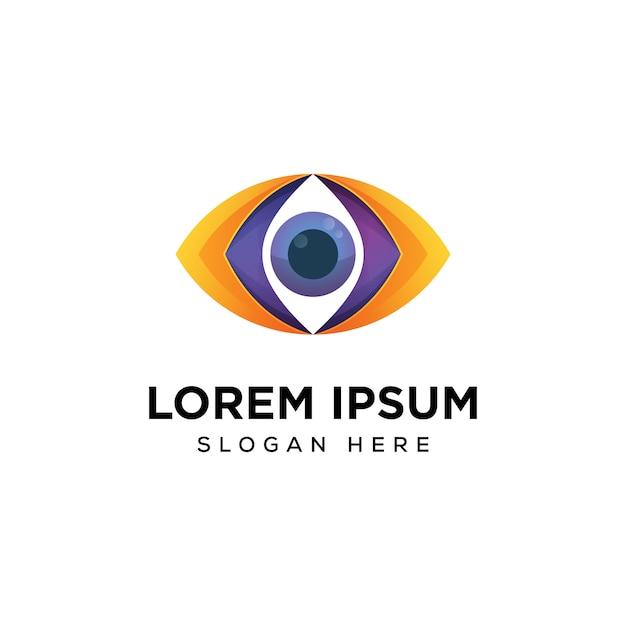 Modello di progettazione di logo di visione dell'occhio Vettore Premium