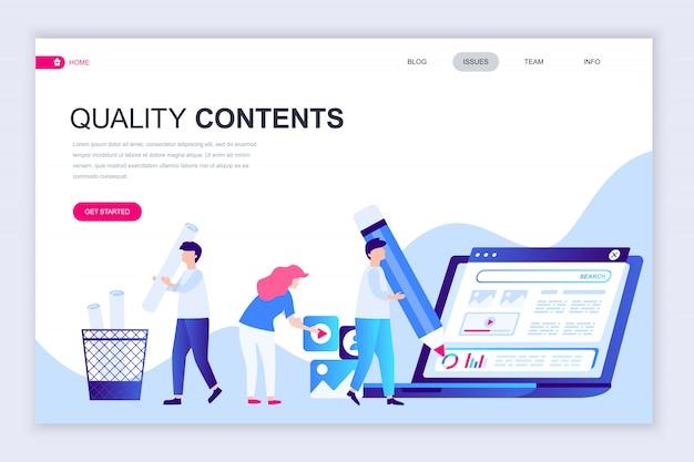 Modello di progettazione di pagina web piatto moderno di contenuti di qualità Vettore Premium